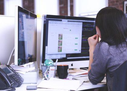 woman looking wordpress screen